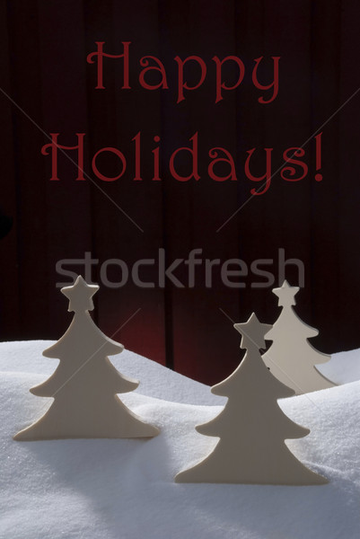 Três branco natal árvores neve feliz Foto stock © Nelosa