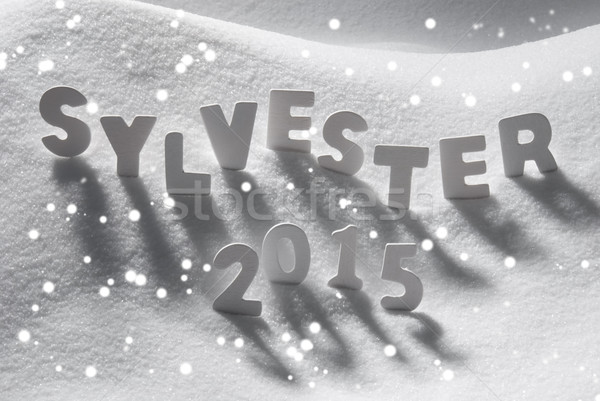 Word Sylvester 2015 Mean New Years Eve On Snow, Snowflakes Stock photo © Nelosa