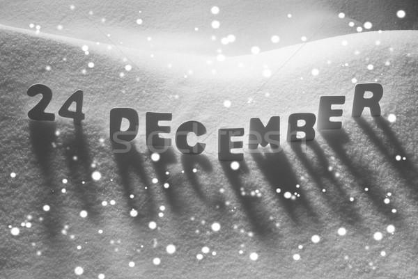 White Word 24 December On Snow, Snowflakes Stock photo © Nelosa