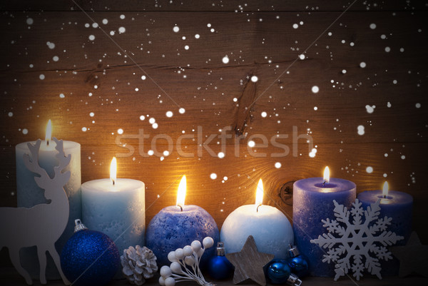 Christmas Card With Blue Candles, Reindeer, Ball, Snowflakes Stock photo © Nelosa