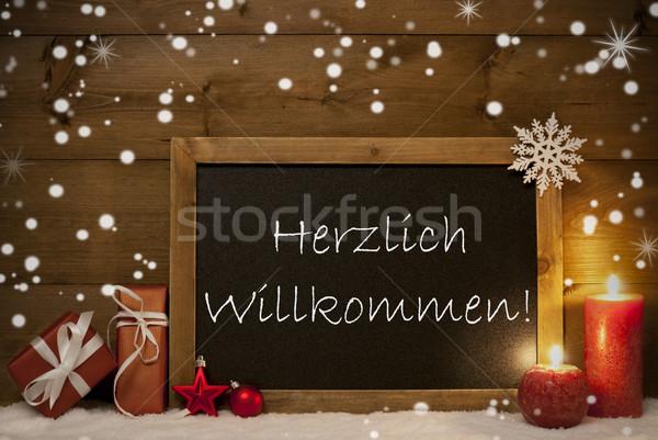 Christmas Card, Blackboard, Snowflakes,Willkommen Mean Welcome Stock photo © Nelosa
