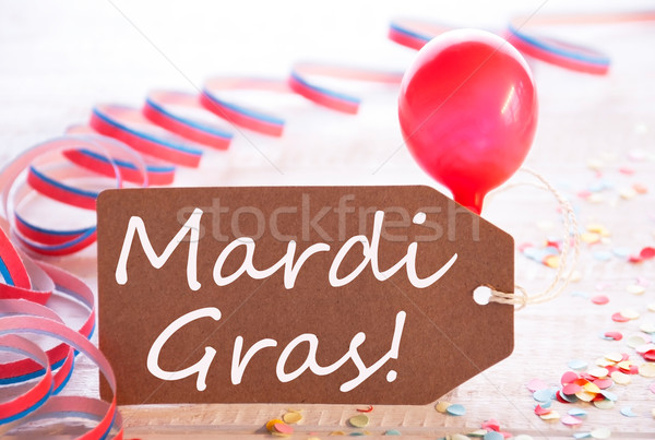 Party Label With Streamer And Balloon, Text Mardi Gras Stock photo © Nelosa
