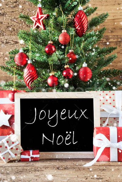 Colorful Tree With Snowflakes, Joyeux Noel Means Merry Christmas Stock photo © Nelosa