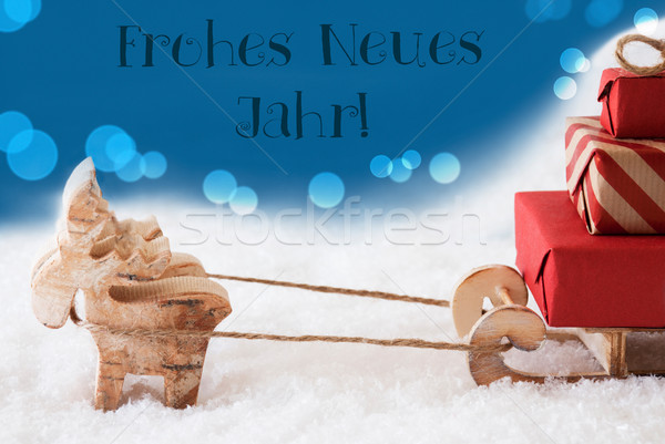 Reindeer With Sled, Blue Background, Neues Jahr Means New Year Stock photo © Nelosa