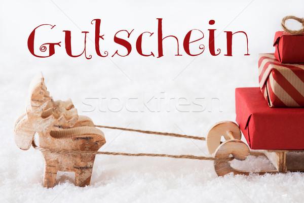 Reindeer With Sled On Snow, Gutschein Means Voucher Stock photo © Nelosa