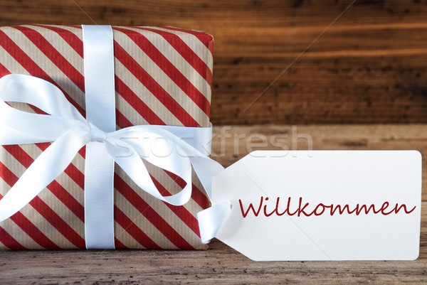 Present With Label, Willkommen Means Welcome Stock photo © Nelosa