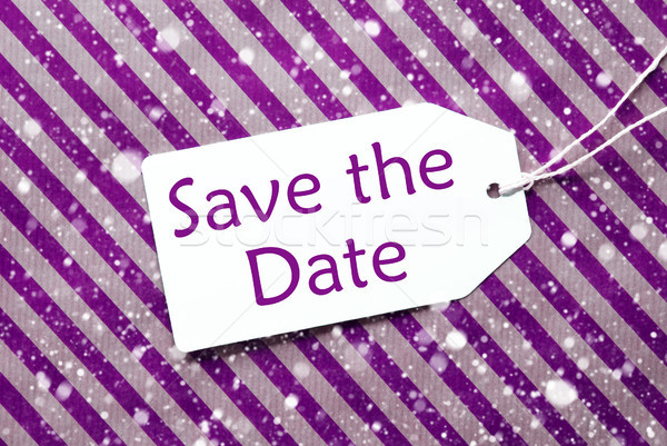 Label, Purple Wrapping Paper, Text Save The Date, Snowflakes Stock photo © Nelosa