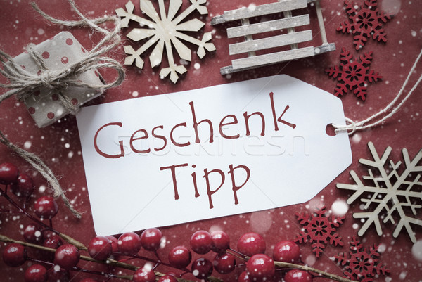 Nostalgic Christmas Decoration, Label With Geschenk Tipp Means Gift Tip Stock photo © Nelosa
