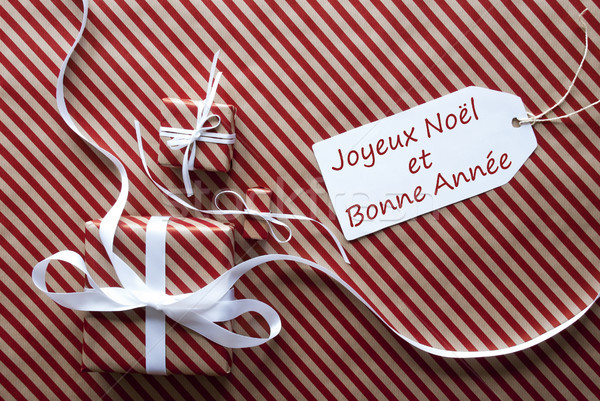 Gifts With Bonne Annee Means Happy New Year Stock photo © Nelosa