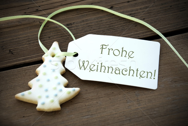 Christmas Label with Frohe Weihnachten Stock photo © Nelosa