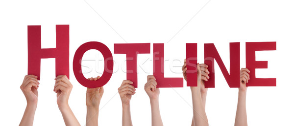 Many People Hands Holding Red Straight Word Hotline Stock photo © Nelosa