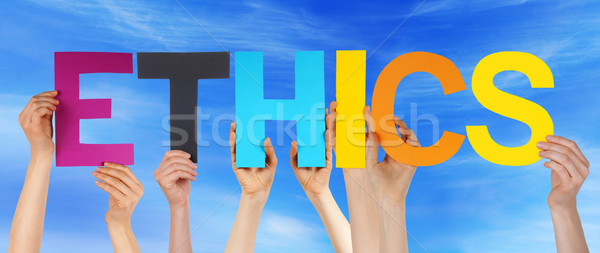 Hands Hold Colorful Straight Word Ethics Blue Sky Stock photo © Nelosa