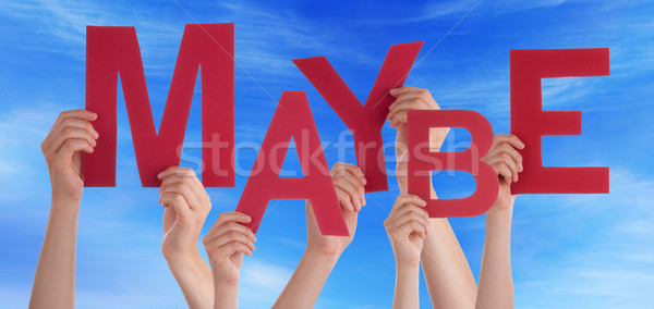 Many People Hands Holding Red Word Maybe Blue Sky Stock photo © Nelosa