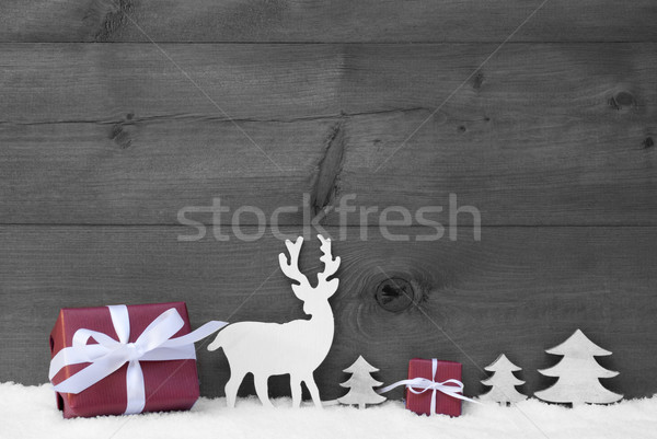 Black And White Christmas Background Snow Red Gift Stock photo © Nelosa