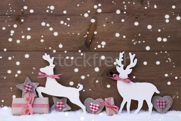 Christmas decoratie rendier paar liefde sneeuwvlokken Stockfoto © Nelosa