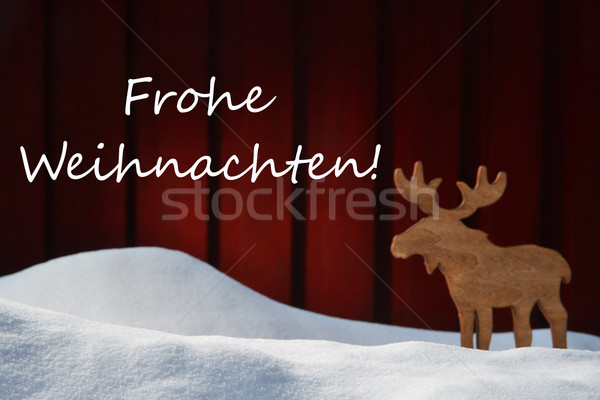 Card With Frohe Weihnachten Mean Christmas And Moose Stock photo © Nelosa