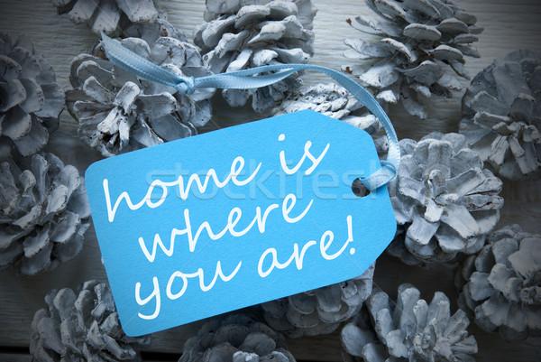 Luz azul etiqueta citar casa um Foto stock © Nelosa