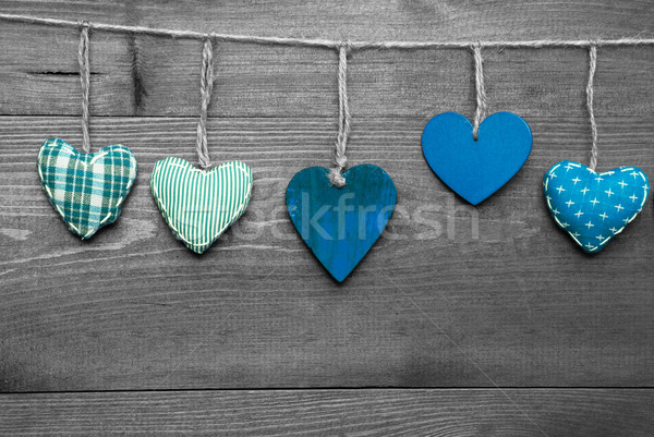 Loving Greeting Card With Turquoise Hearts Stock photo © Nelosa