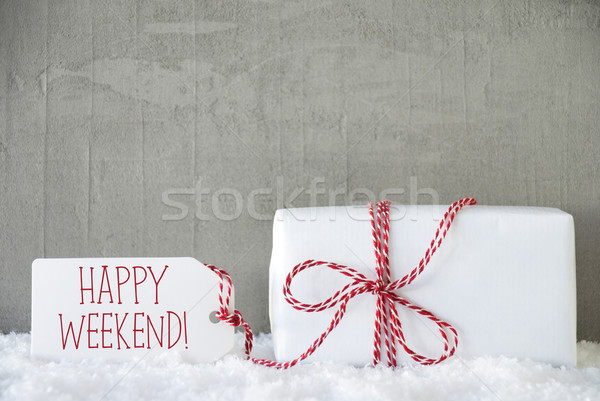 One Gift, Urban Cement Background, Text Happy Weekend Stock photo © Nelosa
