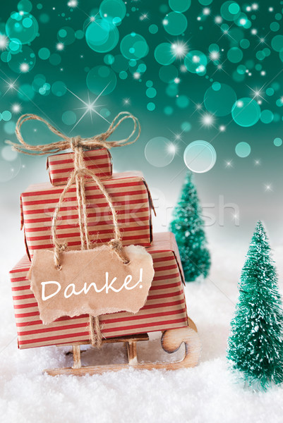 Vertical Christmas Sleigh On Green Background, Danke Means Thank You Stock photo © Nelosa