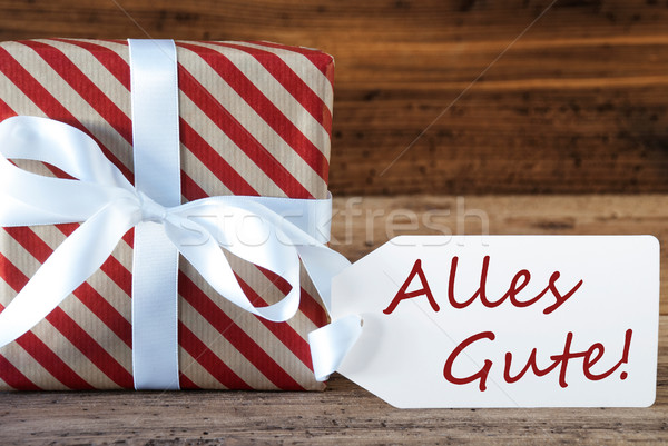 Present With Label, Alles Gute Means Best Wishes Stock photo © Nelosa