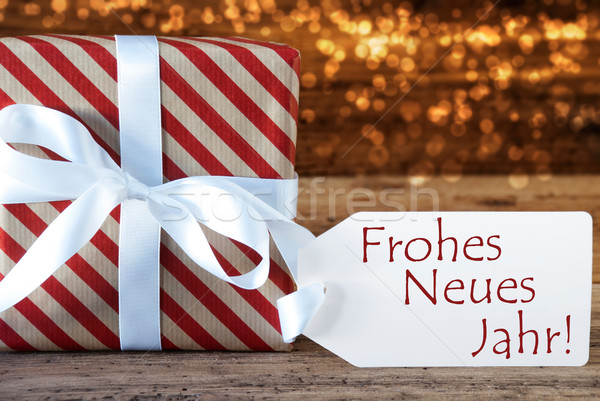 Atmospheric Christmas Gift With Label, Neues Jahr Means New Year Stock photo © Nelosa