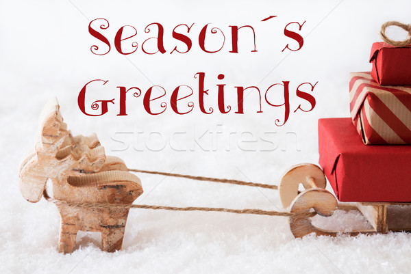 Reindeer With Sled On Snow, Text Seasons Greetings Stock photo © Nelosa