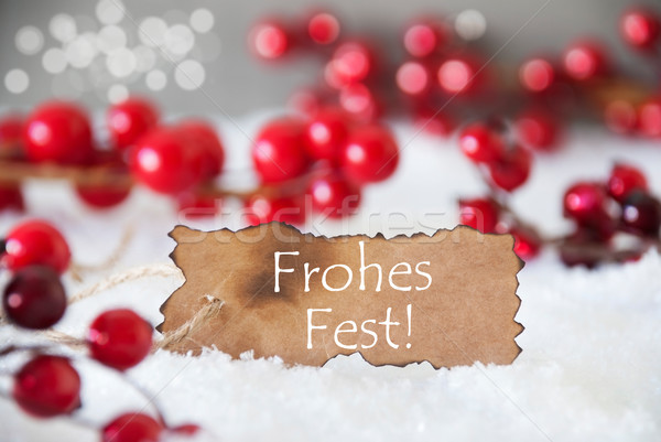 Stock photo: Burnt Label, Snow, Bokeh, Text Frohes Fest Means Merry Christmas