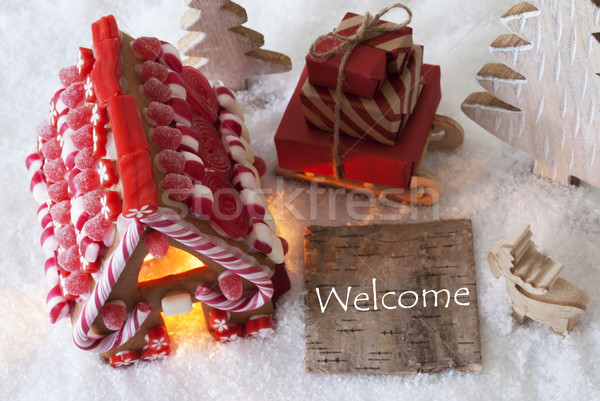 Gingerbread House, Sled, Snow, Text Welcome Stock photo © Nelosa
