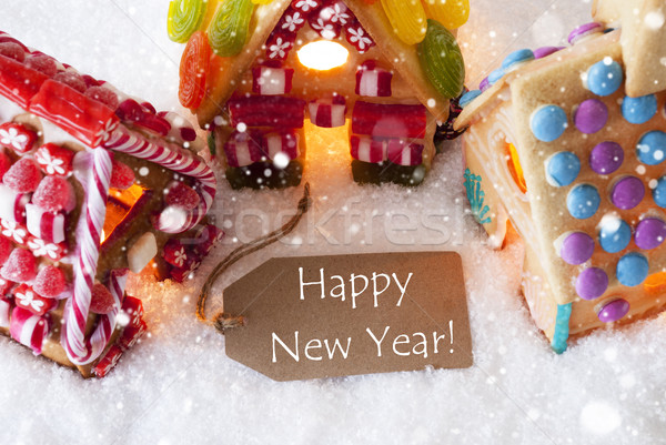 Colorful Gingerbread House, Snowflakes, Text Happy New Year Stock photo © Nelosa