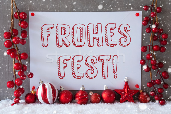 Label, Snowflakes, Balls, Frohes Fest Means Merry Christmas Stock photo © Nelosa