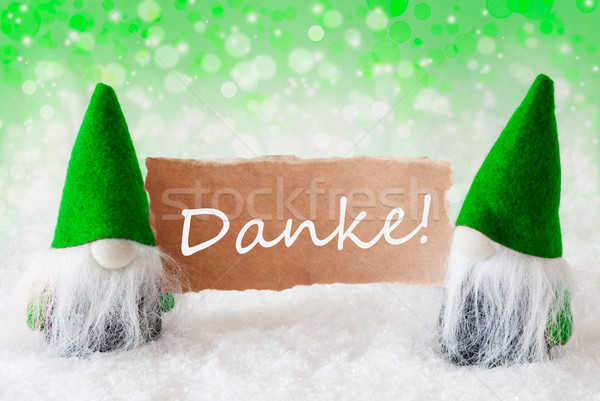 Green Natural Gnomes With Card, Danke Means Thank You Stock photo © Nelosa