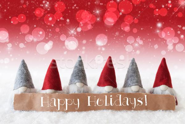 Gnomes, Red Background, Bokeh, Stars, Text Happy Holidays Stock photo © Nelosa