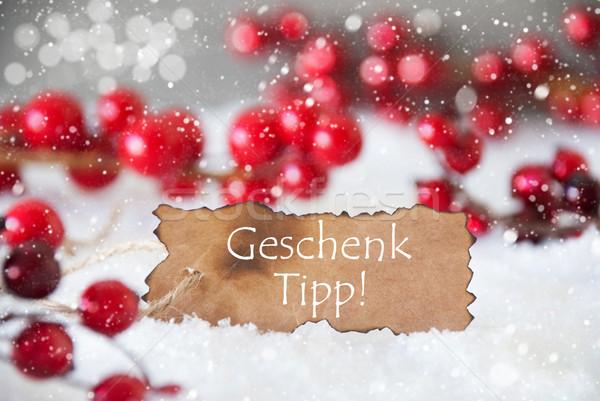 Címke hó hópelyhek ajándék borravaló szöveg Stock fotó © Nelosa