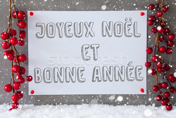 Label, Snowflakes, Christmas Decoration, Bonne Annee Means New Year Stock photo © Nelosa