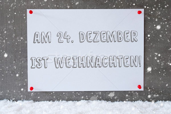 Label On Cement Wall, Snowflakes, Weihnachten Means Christmas Stock photo © Nelosa