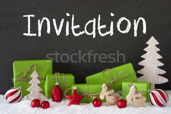 Stock photo: Christmas Decoration, Cement, Snow, Text Invitation