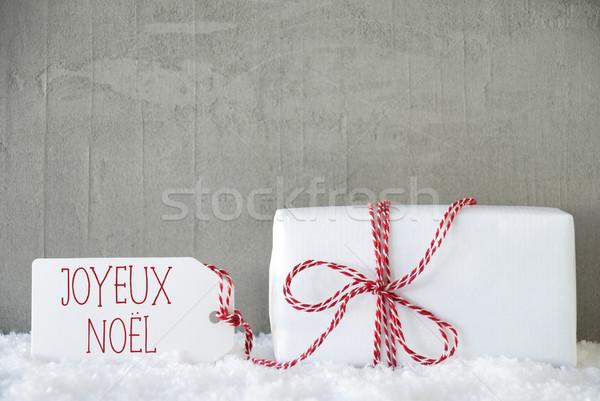 One Gift, Urban Cement Background, Joyeux Noel Means Merry Christmas Stock photo © Nelosa