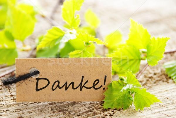 Сток-фото: Label · природного · глядя · слово · спасибо · зеленые · листья