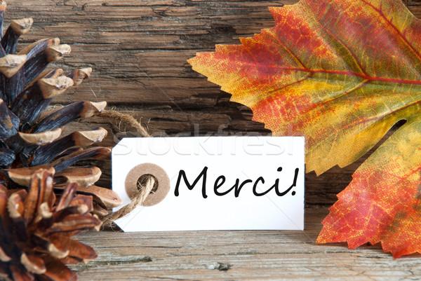 Fall Background with Merci Label Stock photo © Nelosa