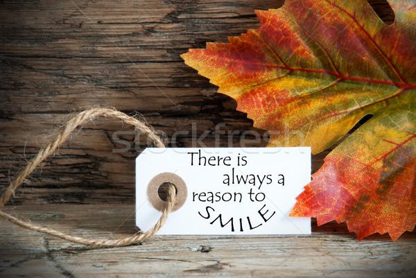 ősz címke állandóan mosoly ősz fa Stock fotó © Nelosa