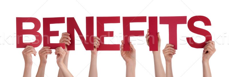 Many People Hands Holding Red Straight Word Benefits  Stock photo © Nelosa