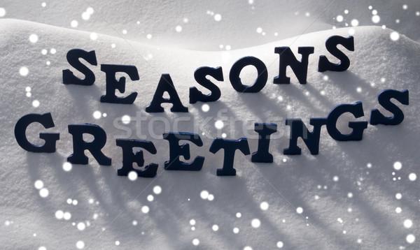 Blue Word Seasons Greetings On Snow, Snowflakes Stock photo © Nelosa