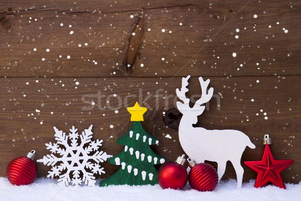 Foto stock: Natal · decoração · rena · flocos · de · neve