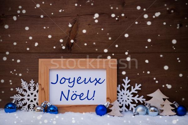 Blue Decoration, Snow, Joyeux Noel Mean Christmas, Snowflakes Stock photo © Nelosa