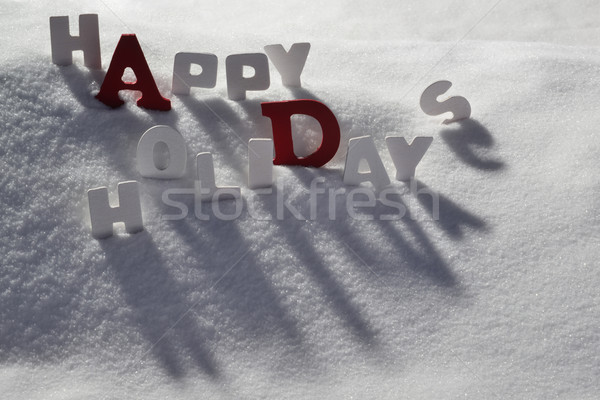 Christmas Card With White And Red Letters, Happy Holidays Stock photo © Nelosa