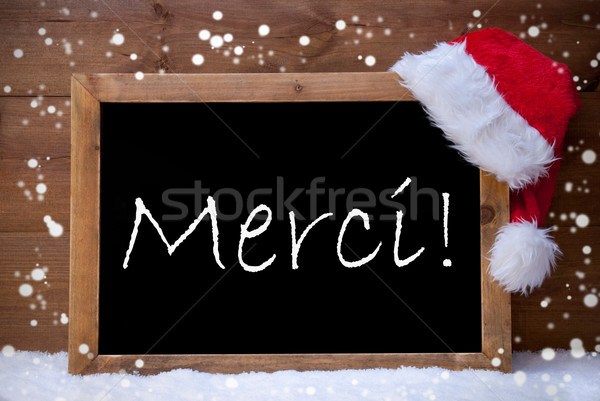 Christmas Card,Chalkboard, Merci Mean Thank You, Snowflake, Snow Stock photo © Nelosa