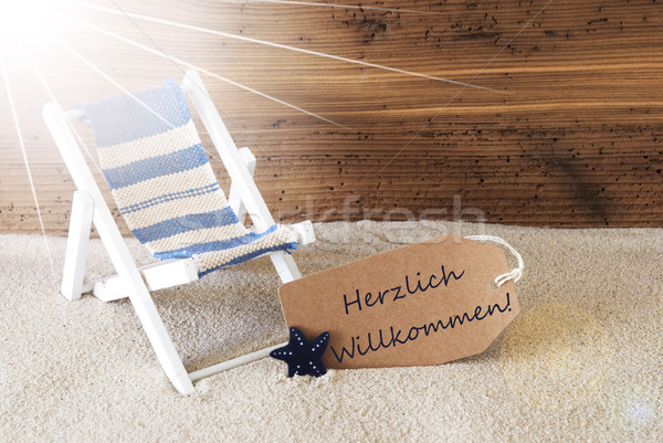 Summer Sunny Label, Willkommen Means Welcome Stock photo © Nelosa