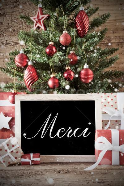 Nosztalgikus karácsonyfa köszönjük karácsonyi üdvözlet évszakok üdvözlet Stock fotó © Nelosa