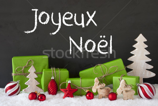 Decoration, Cement, Snow, Joyeux Noel Means Merry Christmas Stock photo © Nelosa
